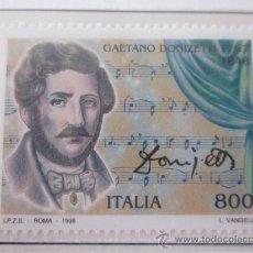 Sellos: SERIE SELLOS ITALIA 150 AÑOS MUERTE DONIZETTI.FACIAL 800.NUEVO,AÑO 1998. Lote 32108530