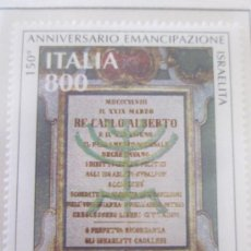 Sellos: SERIE SELLOS ITALIA 150 AÑOS EMANCIPACION JUDIOS ITALIANOS.FACIAL 800.AÑO 1998. Lote 32108557
