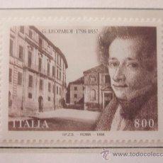 Sellos: SERIE SELLOS ITALIA 200 AÑOS NACIMIENTO LEOPARDI.FACIAL 800.AÑO 1998. Lote 32108706