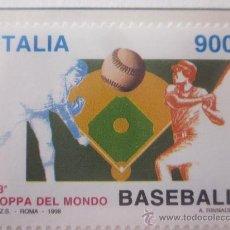 Sellos: SERIE SELLOS ITALIA 33 COPA DEL MUNDO DE BEISBOL.FACIAL 900.AÑO 1998. Lote 32108721