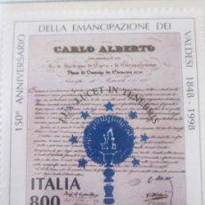 Sellos: SERIE SELLOS ITALIA 150 AÑOS EMANCIPACION VALDESES.FACIAL 800.AÑO 1998. Lote 32108888