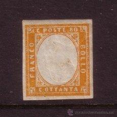 Sellos: ITALIA CERDEÑA 14B* AÑO 1855 - VICTOR MANUEL II - EFIGIE INVERTIDA. Lote 32870203