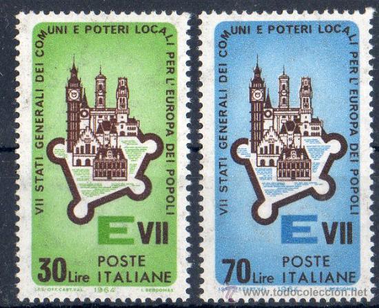 ITALIA AÑO 1964 YV 909/10*** VII REUNIÓN DE LOS ESTADOS DE LA COMUNIDAD EUROPEA EN ROMA (Sellos - Extranjero - Europa - Italia)