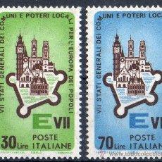 Sellos: ITALIA AÑO 1964 YV 909/10*** VII REUNIÓN DE LOS ESTADOS DE LA COMUNIDAD EUROPEA EN ROMA. Lote 35019590