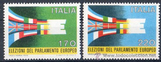 ITALIA AÑO 1979 YV 1391/92*** ELECCIONES AL PARLAMENTO EUROPEO - BANDERAS (Sellos - Extranjero - Europa - Italia)