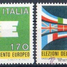 Sellos: ITALIA AÑO 1979 YV 1391/92*** ELECCIONES AL PARLAMENTO EUROPEO - BANDERAS. Lote 35019694