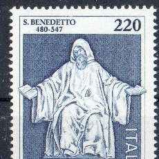 Sellos: ITALIA AÑO 1980 YV 1416*** XV CENTº DEL NACIMIENTO DE SAN BENITO PATRÓN DE EUROPA - RELIGIÓN - ARTE. Lote 35019743