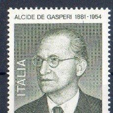 Sellos: ITALIA AÑO 1981 YV 1475*** CENTº DEL NACIMIENTO DE ALCIDE DE GASPERI - PERSONAJES. Lote 35019778