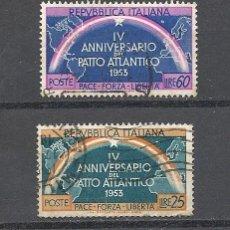 Sellos: ITALIA 1953, YVERT Nº 660/661, PACTO ATLANTICO. MATASELLADO. Lote 36850702