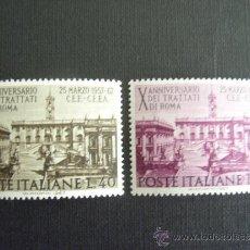 Sellos: ITALIA Nº YVERT 961/2*** AÑO 1967. 10º ANIVERSARIO TRATADO DE ROMA,COMUNIDAD ECONOMICA EUROPEA. Lote 37115555
