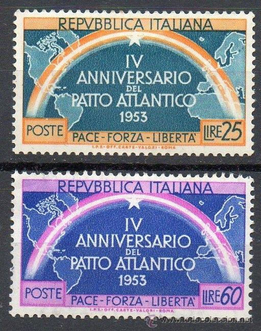 ITALIA AÑO 1953 YV 660/61*** IV ANIVº DE LA OTAN - MAPAS (Sellos - Extranjero - Europa - Italia)