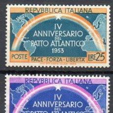 Sellos: ITALIA AÑO 1953 YV 660/61*** IV ANIVº DE LA OTAN - MAPAS. Lote 39465638