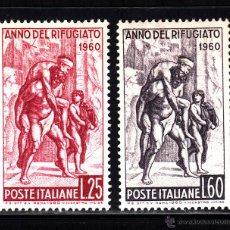 Sellos: ITALIA 807/08** - AÑO 1960 - AÑO INTERNACIONAL DEL REFUGIADO - PINTURA - OBRA DE RAFAEL. Lote 278425873