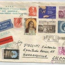 Sellos: 1967 - CARTA VOLADA DE ITALIA A COLOMBIA - ITALIA. Lote 50661767