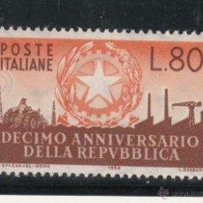 Sellos: ITALIA 728 CON CHARNELA, 10 ANIVº DE LA REPUBLICA . Lote 51017839