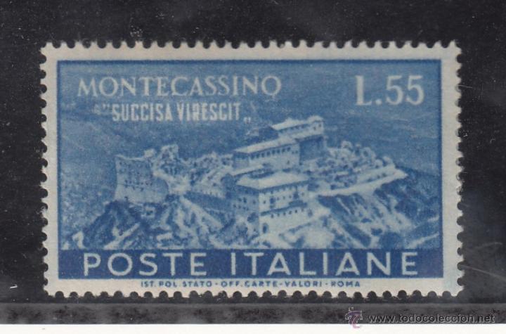 ITALIA 603 CON CHARNELA, RECONSTRUCCIÓN DE LA ABADIA DE MONTE CASSIN (Sellos - Extranjero - Europa - Italia)