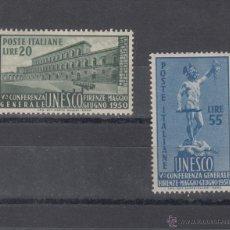 Sellos: ITALIA 556/7 CON CHARNELA, V CONFERENCIA GENERAL DE LA U.N.E.S.C.O, EN FLORENCIA . Lote 51049665
