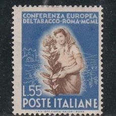 Sellos: ITALIA 569 CON CHARNELA, CONFERENCIA EUROPEA DEL TABACO,. Lote 51049377