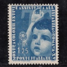 Sellos: ITALIA 392 CON CHARNELA, CONMEMORACION DE LA EXPOSICION ROMANA DE LAS COLONIA DE VACACIONES,. Lote 51063644