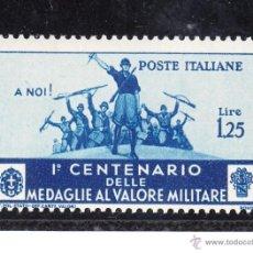 Sellos: ITALIA 353 CON CHARNELA, CENTº DE LA INSTITUCION DE LA MEDALLA AL VALOR MILITAR, . Lote 51063858