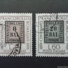 Sellos: SELLOS DE ITALIA. SELLOS SOBRE SELLOS YVERT 800/01. SERIE COMPLETA USADA.. Lote 57983000