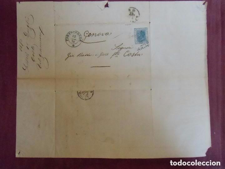 Sellos: Carta circulada de Portorres a Génova (Italia). Con sello. 1876 - Foto 3 - 64841227