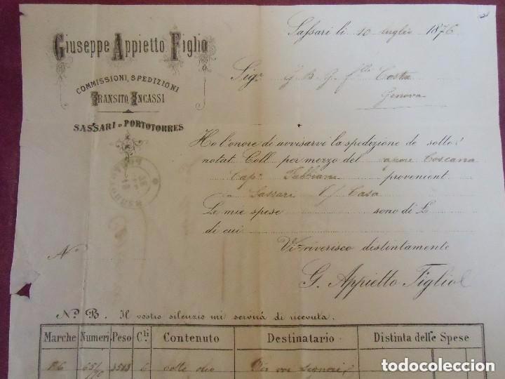 Sellos: Carta circulada de Portorres a Génova (Italia). Con sello. 1876 - Foto 4 - 64841227