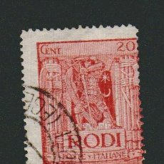 Sellos: ITALIA.ISLAS DEL MAR EGEO.RODAS.1929.-20 CENT.YBERT 17.USADO. Lote 76636563
