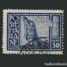 Sellos: ITALIA.ISLAS DEL MAR EGEO.RODAS.1929.-30 CENT.YBERT 19.USADO. Lote 76636911
