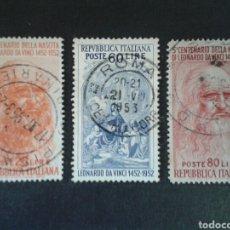Francobolli: SELLOS DE ITALIA. YVERT 624/6. SERIE COMPLETA USADA. LEONARDO DA VINCI.. Lote 80338629