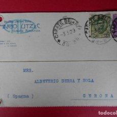 Sellos: TARJETA POSTAL COMERCIAL ITALIANA, MARIO UTZ & C. - DE CARATE BRIANZA A GERONA -1929.. R-5729. Lote 85395204