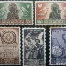 Sellos: ITALIA , SELLOS UTILIZADOS POR POLACOS EN ITALIA , 1946 , FISCHER 1-5 , SIN CHARNELA. Lote 87585280