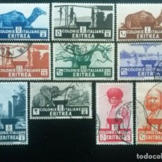 Sellos: ERITREA , COLONIA ITALIANA, YVERT Nº 195 - 204 , SERIE COMPLETA , 1933. Lote 88096552