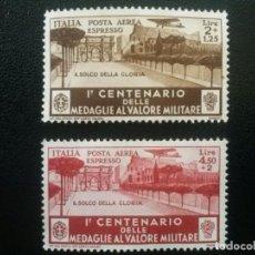 Sellos: ITALIA , CORREO AÉREO , YVERT Nº 76 + 77 SIN GOMA , 1934. Lote 89365964