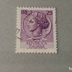 Sellos: USADO ITALIA. 1953. MONEDA SIRACUSA 25 LIRAS. 6 JUNIO 1953. YT 652.. Lote 100746491