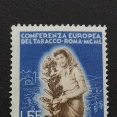 Sellos: ITALIA , YVERT Nº 569 ** SIN CHARNELA , 1950 , CONFERENCIA DEL TABACO. Lote 103264323