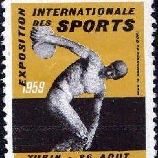 Sellos: TURIN 1959. EXPOSITION INTERNATIONALES DES SPORTS. **. MNH(MINIMA MARCA FIJASELLO) (18-04). Lote 109537495