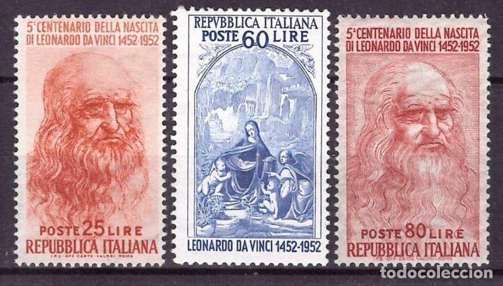 ITALIA 1952 IVERT 624/6 *** 5º CENTENARIO DEL NACIMIENTO DE LEONARDO DA VINCI (Sellos - Extranjero - Europa - Italia)