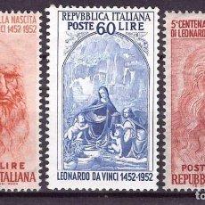 Sellos: ITALIA 1952 IVERT 624/6 *** 5º CENTENARIO DEL NACIMIENTO DE LEONARDO DA VINCI. Lote 113841218