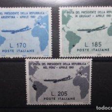 Sellos: ITALIA 1961 IVERT 845/7 *** VISITA DEL PRESIDENTE GRONCHI A ARGENTINA, URUGUAY Y PERÚ . Lote 111705031