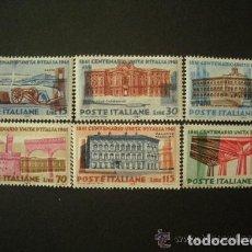 Sellos: ITALIA 1961 IVERT 852/7 *** CENTENARIO DE LA UNIDAD ITALIANA - MONUMENTOS. Lote 111705835