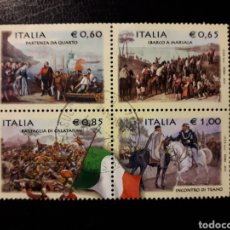 Sellos: ITALIA. AÑO 2010. 4 VALORES USADOS. UN SELLO DENTADO CORTO NO CONTADO.. Lote 128591310