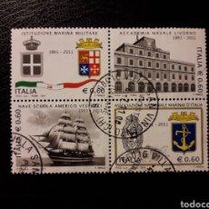 Sellos: ITALIA. AÑO 2011. 4 VALORES USADOS. UN SELLO ROTO NO CONTADO. INSTITUCIONES NAVALES. BARCOS. Lote 128591316