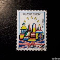 Sellos: ITALIA. YVERT 1997. SELLO SUELTO USADO. BIENVENIDA EUROPA. BANDERAS.. Lote 128680000