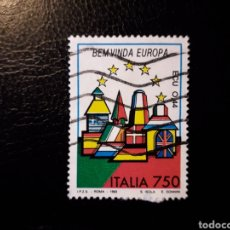 Sellos: ITALIA. YVERT 1996. SELLO SUELTO USADO. BIENVENIDA EUROPA. BANDERAS.. Lote 128680006
