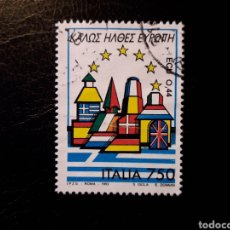 Sellos: ITALIA. YVERT 1992. SELLO SUELTO USADO. BIENVENIDA EUROPA. BANDERAS.. Lote 128680010