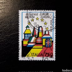 Sellos: ITALIA. YVERT 1988. SELLO SUELTO USADO. BIENVENIDA EUROPA. BANDERAS.. Lote 128680031