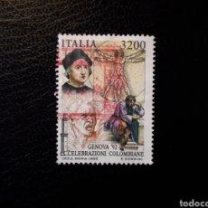 Sellos: ITALIA. YVERT 1980. SELLO SUELTO USADO. DESCUBRIMIENTO DE AMÉRICA. CRISTÓBAL COLÓN. Lote 128680042