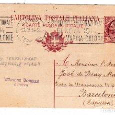 Sellos: ENTERO POSTAL CIRCULADO DE GENOVA ITALIA A BARCELONA AÑO 1914. Lote 132350646
