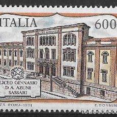 Sellos: ITALIA 1991. ESCUELAS DE ITALIA. LICEO AZUNI. YT 1915. NUEVO (MNH). Lote 133400422